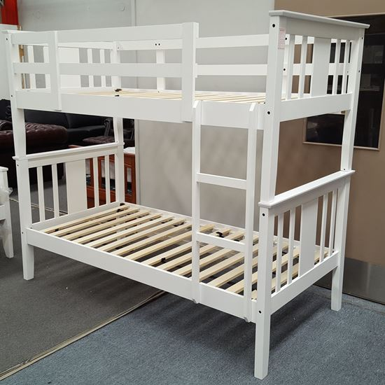 Picture of Holly King Single Bunk Bed Solid Hardwood White Malaysian Made