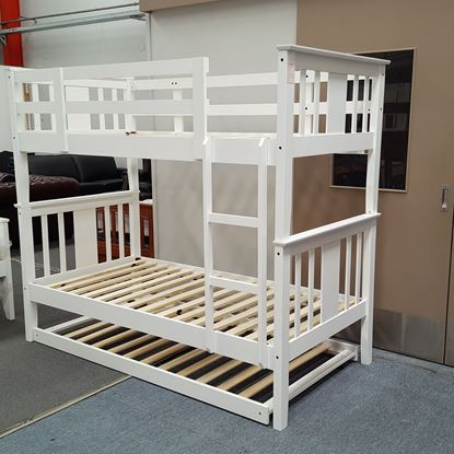 Picture of Holly King Single Bunk Bed with Trundle Solid Hardwood White