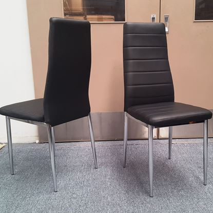Picture of Mila Dining Chair Black PU Leather Chrome Legs Semi Assembled