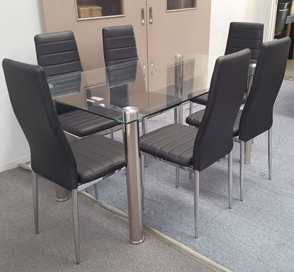 Picture of Melody Dining Table Clear Tempered Glass 1500mm X 900mm (Table Only)