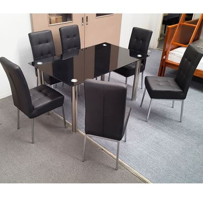 Picture of Melody Dining Table Black Tempered Glass 1500mm X 900mm (Table Only)