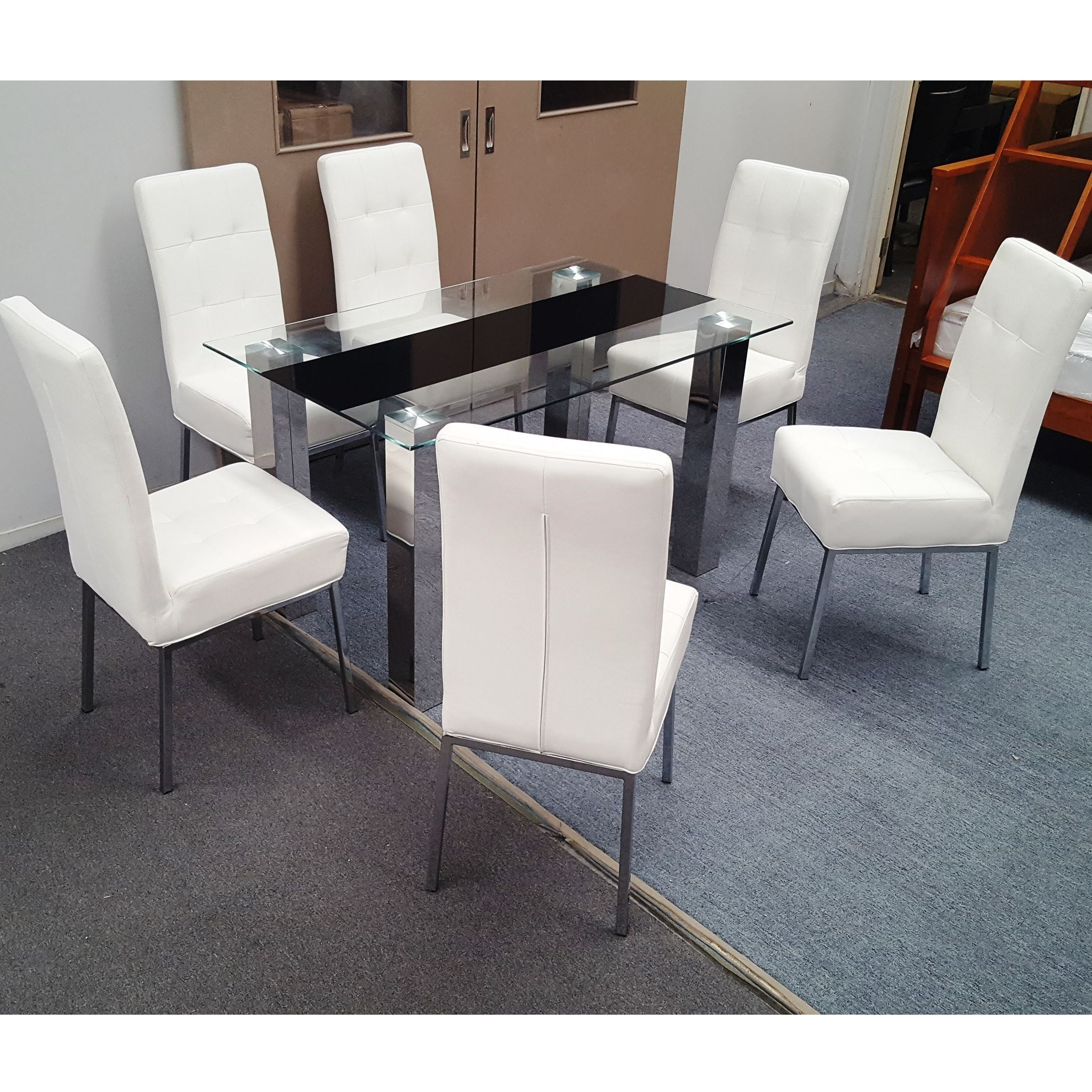 Furniture Place Levi Dining Table Tempered Glass 1500mm X