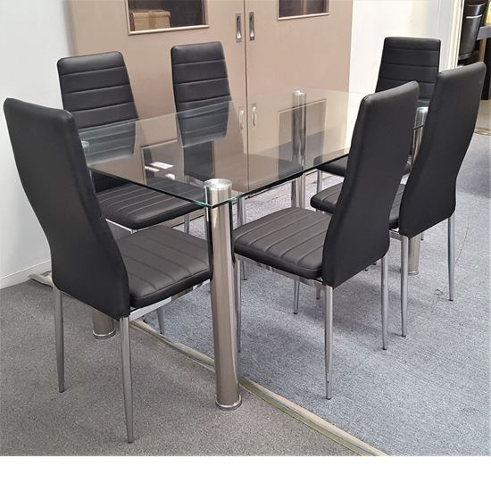 Picture of Melody Dining Table Clear Glass 1.5X0.9m with 6 Black Mila Dining Chair