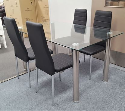 Picture of Melody Dining Table Clear Glass 1.5X0.9m with 4 Black Mila Dining Chair