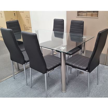 Picture of Melody Dining Table Clear Glass 1.3X0.8m with 6 Black Mila Dining Chair