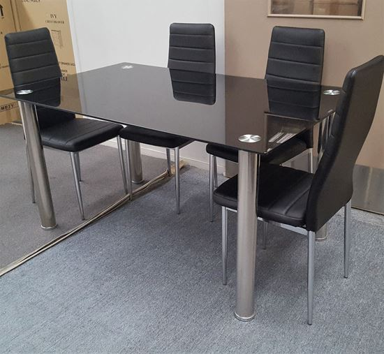 Picture of Melody Dining Table Black Glass 1.3X0.8m with 4 Black Mila Dining Chair