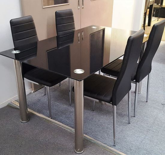 Picture of Melody Dining Table Black Glass 1.5X0.9m with 4 Black Mila Dining Chair