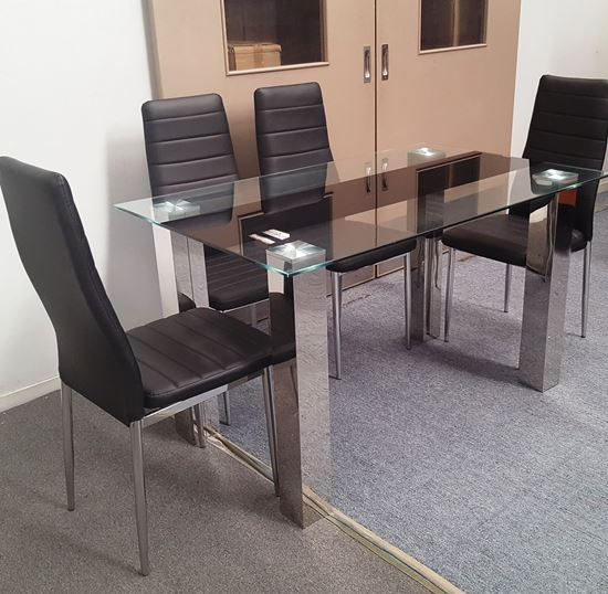 Picture of Levi Dining Table Glass 1.3X0.8m with 4 Black Mila Dining Chair