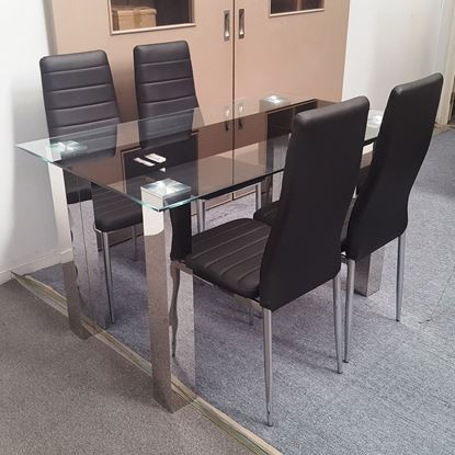 Picture of Levi Dining Table Glass 1.5X0.9m with 4 Black Mila Dining Chair