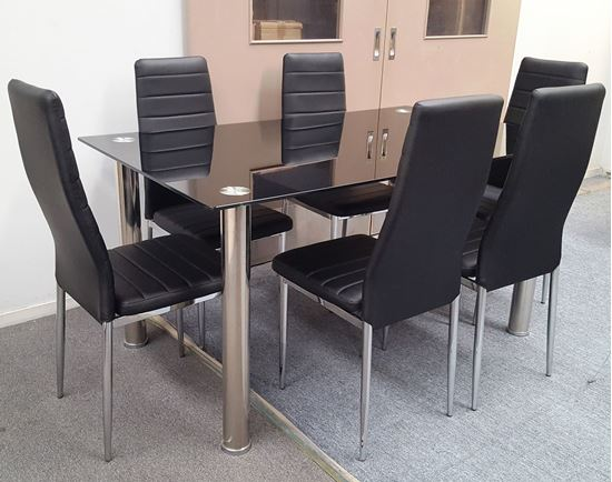 Picture of Melody Dining Table Black Glass 1.3X0.8m with 6 Black Mila Dining Chair