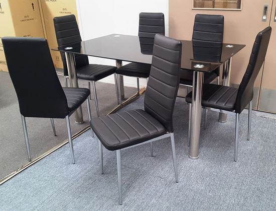 Picture of Melody Dining Table Black Glass 1.5X0.9m with 6 Black Mila Dining Chair