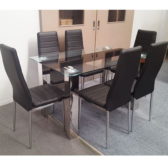 Picture of Levi Dining Table Glass 1.5X0.9m with 6 Black Mila Dining Chair