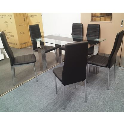 Picture of Levi Dining Table Glass 1.3X0.8m with 6 Black Mila Dining Chair