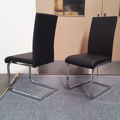 Picture of Lyla Dining Chair Black PU Leather Chrome Legs