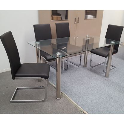 Picture of Melody Dining Table Clear Glass 1.3X0.8m with 4 Black Lyla Dining Chair