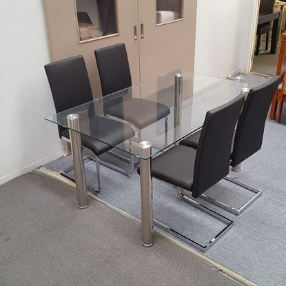 Picture of Melody Dining Table Clear Glass 1.5X0.9m with 4 Black Lyla Dining Chair