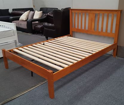 Picture of Grace Queen Bed Solid Hardwood Honey Oak Colour Malaysian Made