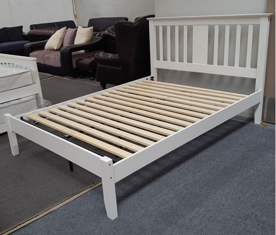 Picture of Grace Queen Bed Solid Hardwood White Colour Malaysian Made