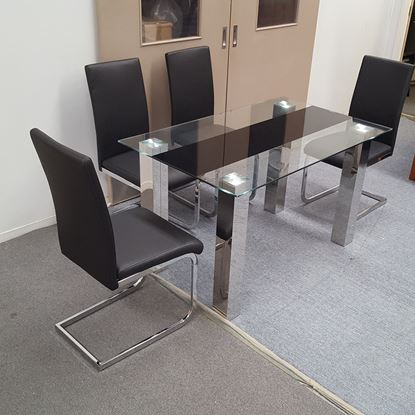 Picture of Levi Dining Table Glass 1.3X0.8m with 4 Black Lyla Dining Chair