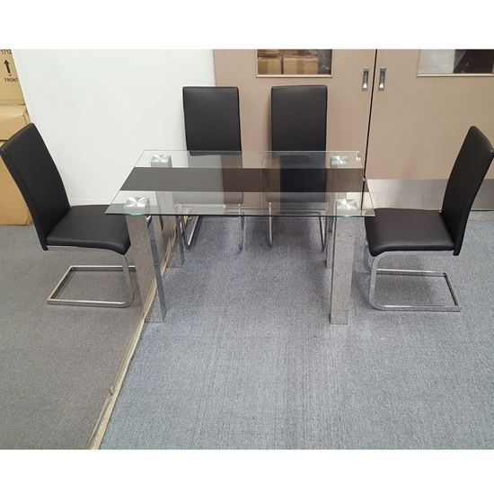 Picture of Levi Dining Table Glass 1.5X0.9m with 4 Black Lyla Dining Chair