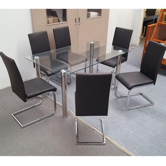 Picture of Melody Dining Table Clear Glass 1.3X0.8m with 6 Black Lyla Dining Chair