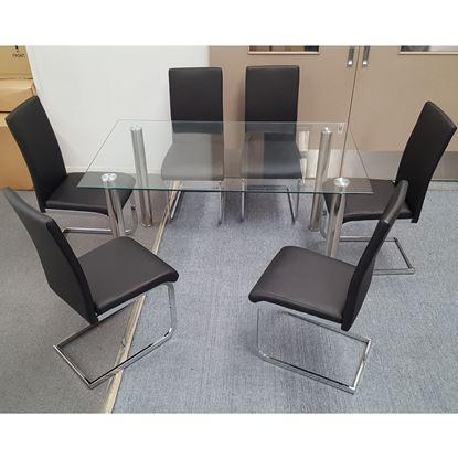 Picture of Melody Dining Table Clear Glass 1.5X0.9m with 6 Black Lyla Dining Chair