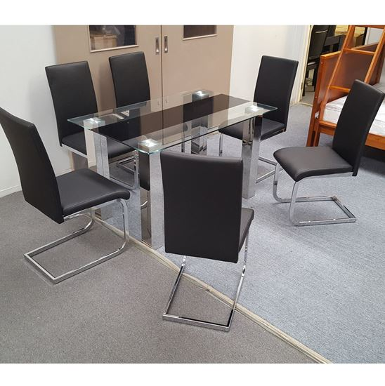Picture of Levi Dining Table Glass 1.3X0.8m with 6 Black Lyla Dining Chair