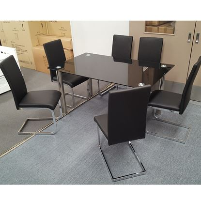 Picture of Melody Dining Table Black Glass 1.5X0.9m with 6 Black Lyla Dining Chair