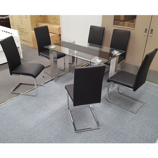 Picture of Levi Dining Table Glass 1.5X0.9m with 6 Black Lyla Dining Chair
