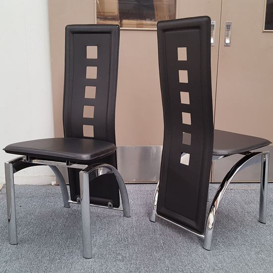 Picture of Willow Dining Chair Black PU Leather Chrome Legs