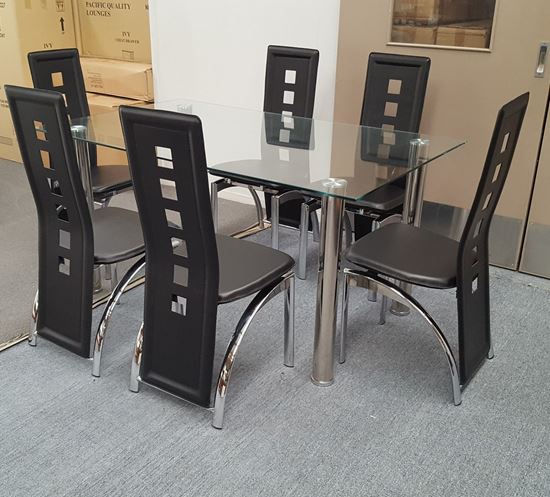 Picture of Melody Dining Table Clear Glass 1.5X0.9m with 6 Black Willow Dining Chair