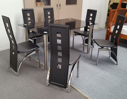 Picture of Melody Dining Table Black Glass 1.5X0.9m with 6 Black Willow Dining Chair