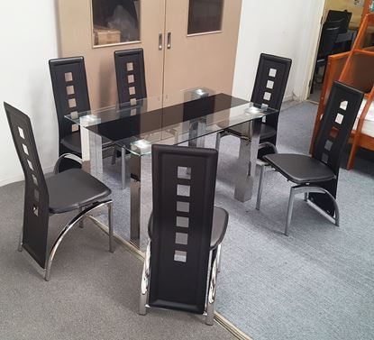 Picture of Levi Dining Table Glass 1.5X0.9m with 6 Black Willow Dining Chair