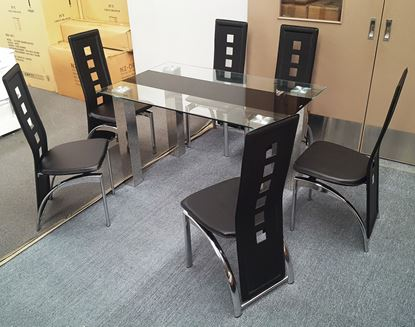 Picture of Levi Dining Table Glass 1.3X0.8m with 6 Black Willow Dining Chair