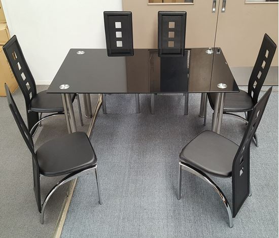 Picture of Melody Dining Table Black Glass 1.3X0.8m with 6 Black Willow Dining Chair