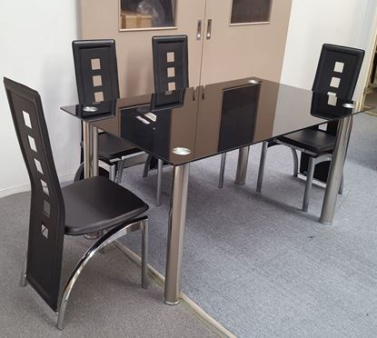 Picture of Melody Dining Table Black Glass 1.3X0.8m with 4 Black Willow Dining Chair