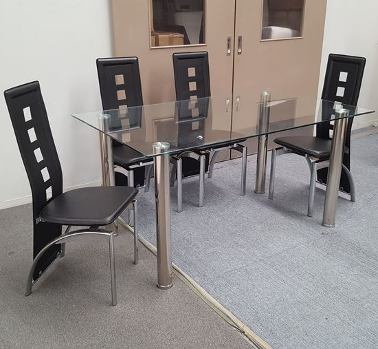 Picture of Melody Dining Table Clear Glass 1.3X0.8m with 4 Black Willow Dining Chair