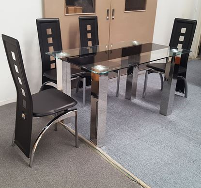 Picture of Levi Dining Table Glass 1.3X0.8m with 4 Black Willow Dining Chair