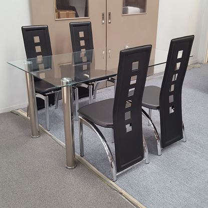 Picture of Melody Dining Table Clear Glass 1.5X0.9m with 4 Black Willow Dining Chair