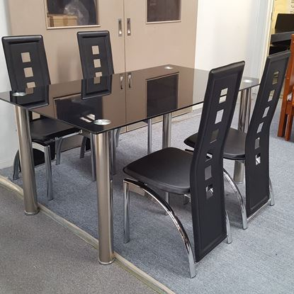 Picture of Melody Dining Table Black Glass 1.5X0.9m with 4 Black Willow Dining Chair