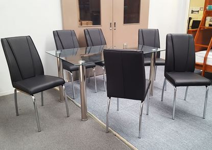 Picture of Melody Dining Table Clear Glass 1.5X0.9m with 6 Black Leo Dining Chair