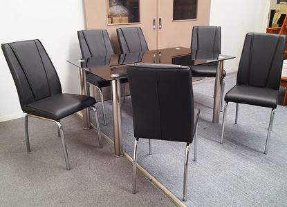 Picture of Melody Dining Table Black Glass 1.5X0.9m with 6 Black Leo Dining Chair