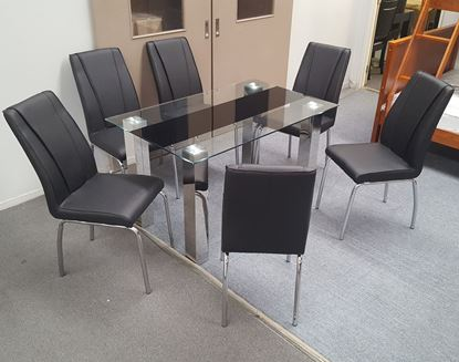 Picture of Levi Dining Table Glass 1.5X0.9m with 6 Black Leo Dining Chair