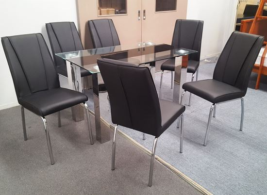 Picture of Levi Dining Table Glass 1.3X0.8m with 6 Black Leo Dining Chair