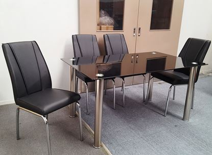 Picture of Melody Dining Table Black Glass 1.3X0.8m with 4 Black Leo Dining Chair