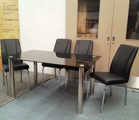 Picture of Melody Dining Table Black Glass 1.5X0.9m with 4 Black Leo Dining Chair