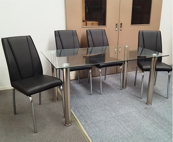 Picture of Melody Dining Table Clear Glass 1.5X0.9m with 4 Black Leo Dining Chair