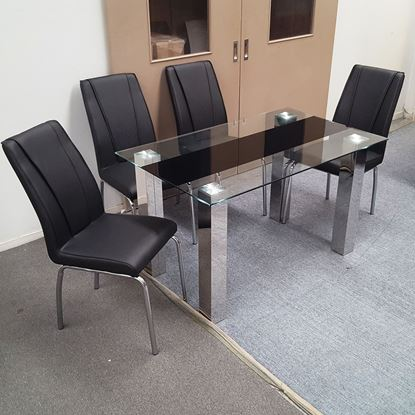 Picture of Levi Dining Table Glass 1.3X0.8m with 4 Black Leo Dining Chair