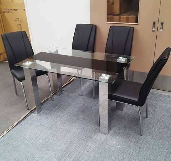 Picture of Levi Dining Table Glass 1.5X0.9m with 4 Black Leo Dining Chair