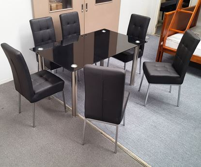 Picture of Melody Dining Table Black Glass 1.5X0.9m with 6 Black Nobel Dining Chair